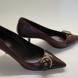 Coach Shoes Pumps Leather Snake Skin Gold 6B Italy